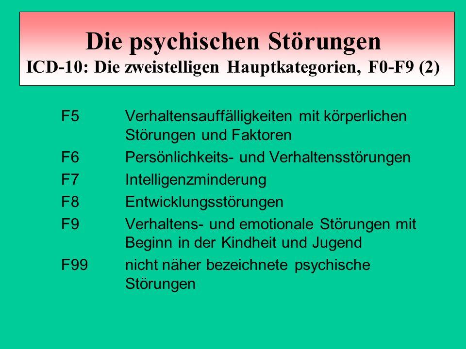 Die psychischen Störungen ICD-10: Die zweistelligen Hauptkategorien, F0-F9 (2) F5 Verhaltensauffälligkeiten mit körperlichen Störungen und Faktoren F6