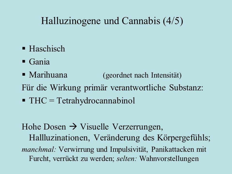 Halluzinogene und Cannabis (4/5) Cannabis:  Haschisch  Gania  Marihuana (geordnet nach Intensität) Für die Wirkung primär verantwortliche Substanz: