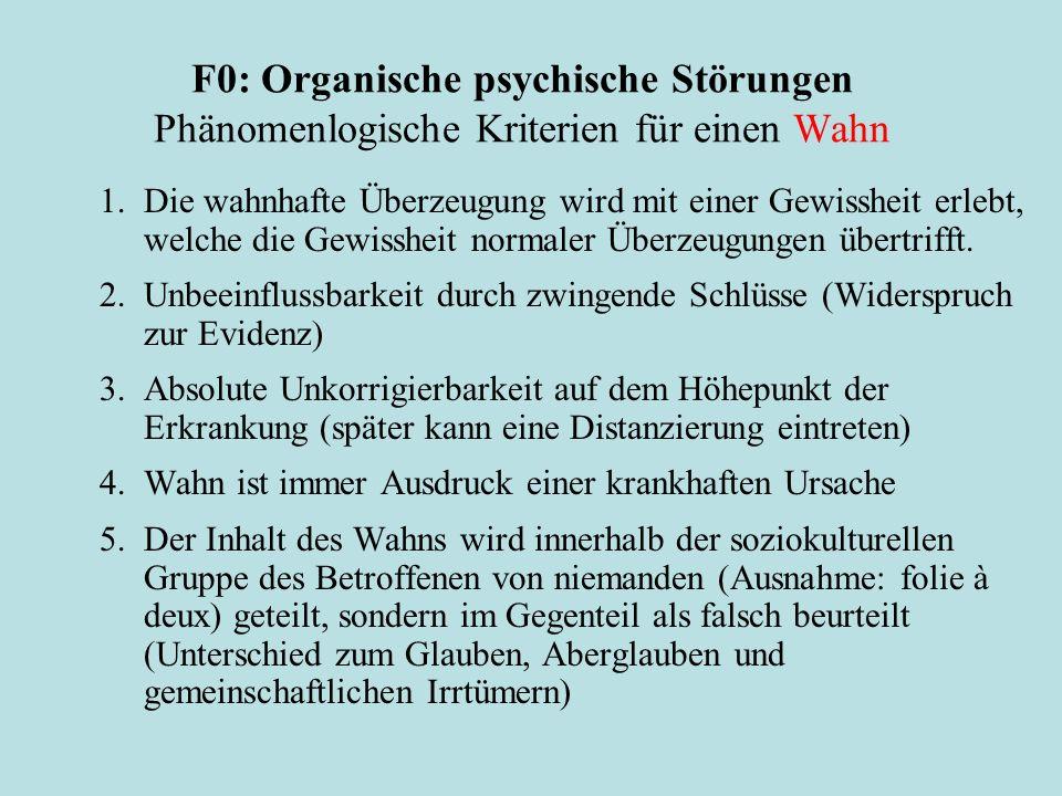 F0: Organische psychische Störungen Phänomenlogische Kriterien für einen Wahn 1. Die wahnhafte Überzeugung wird mit einer Gewissheit erlebt, welche di