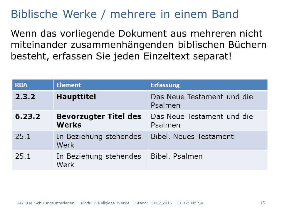 Biblische Werke / mehrere in einem Band Wenn das vorliegende Dokument aus mehreren nicht miteinander zusammenhängenden biblischen Büchern besteht, erf