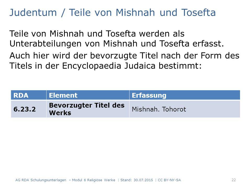 Judentum / Teile von Mishnah und Tosefta Teile von Mishnah und Tosefta werden als Unterabteilungen von Mishnah und Tosefta erfasst. Auch hier wird der