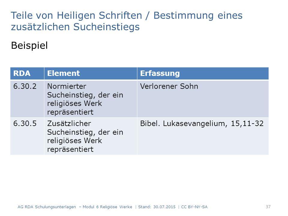 Teile von Heiligen Schriften / Bestimmung eines zusätzlichen Sucheinstiegs Beispiel RDAElementErfassung 6.30.2Normierter Sucheinstieg, der ein religiö