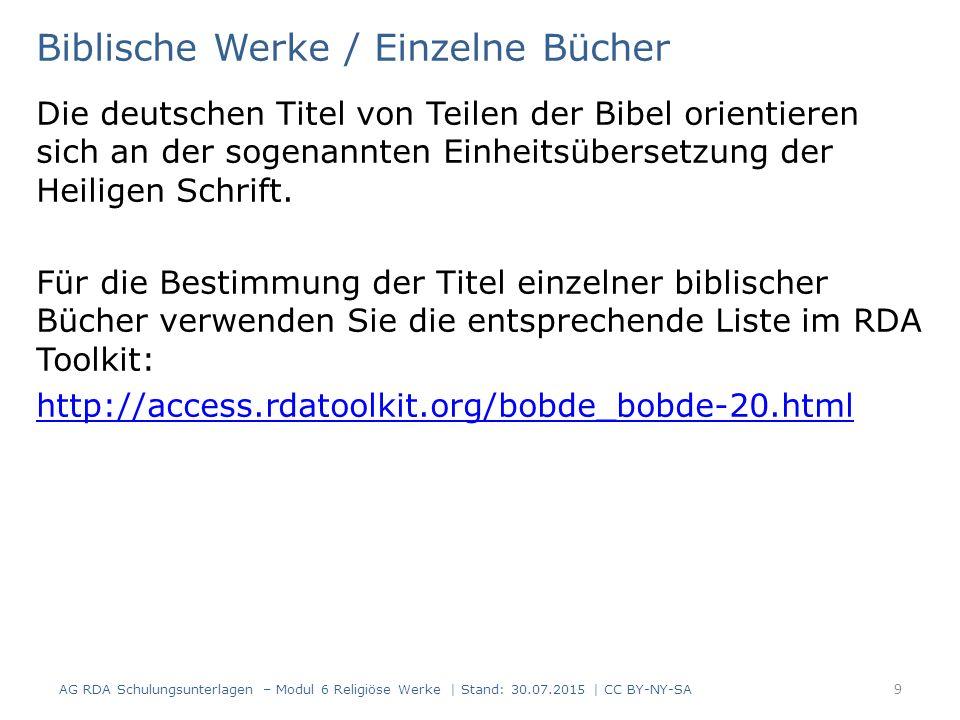 Biblische Werke / Einzelne Bücher Die deutschen Titel von Teilen der Bibel orientieren sich an der sogenannten Einheitsübersetzung der Heiligen Schrif