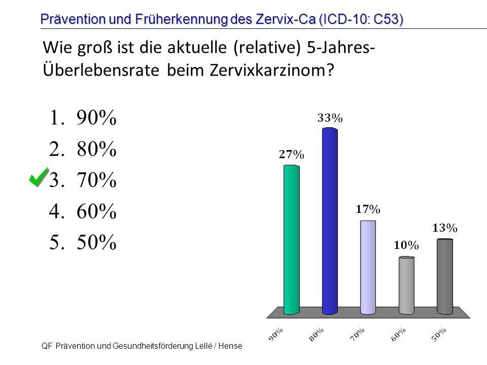 Prävention und Früherkennung des Zervix-Ca (ICD-10: C53) QF Prävention und Gesundheitsförderung Lellé / Hense 13 Wie groß ist die aktuelle (relative)