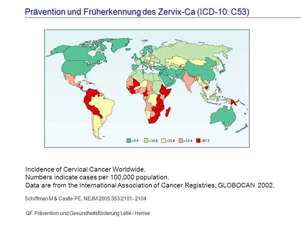 Prävention und Früherkennung des Zervix-Ca (ICD-10: C53) QF Prävention und Gesundheitsförderung Lellé / Hense 16 Incidence of Cervical Cancer Worldwid