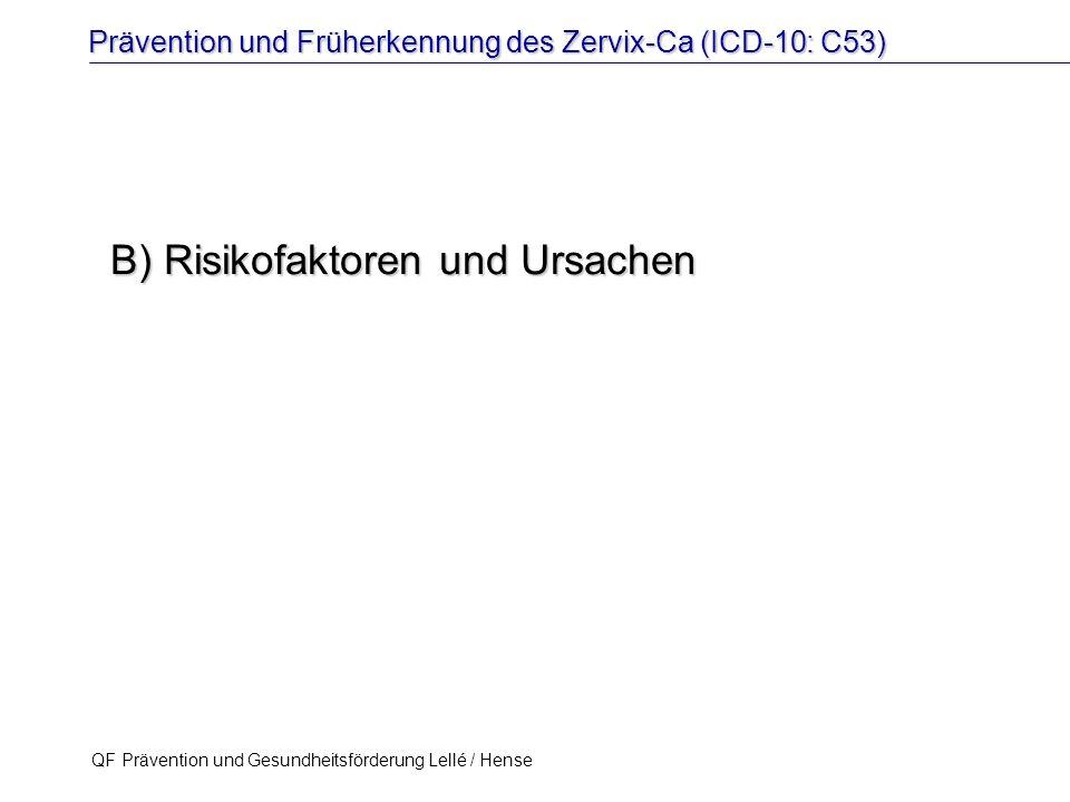 Prävention und Früherkennung des Zervix-Ca (ICD-10: C53) QF Prävention und Gesundheitsförderung Lellé / Hense 17 B) Risikofaktoren und Ursachen