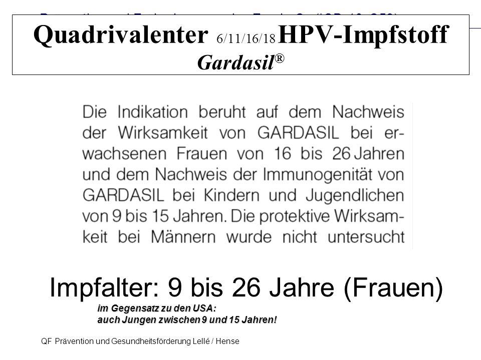 Prävention und Früherkennung des Zervix-Ca (ICD-10: C53) QF Prävention und Gesundheitsförderung Lellé / Hense 31 Quadrivalenter 6/11/16/18 HPV-Impfsto