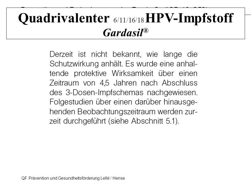 Prävention und Früherkennung des Zervix-Ca (ICD-10: C53) QF Prävention und Gesundheitsförderung Lellé / Hense 32 Quadrivalenter 6/11/16/18 HPV-Impfsto