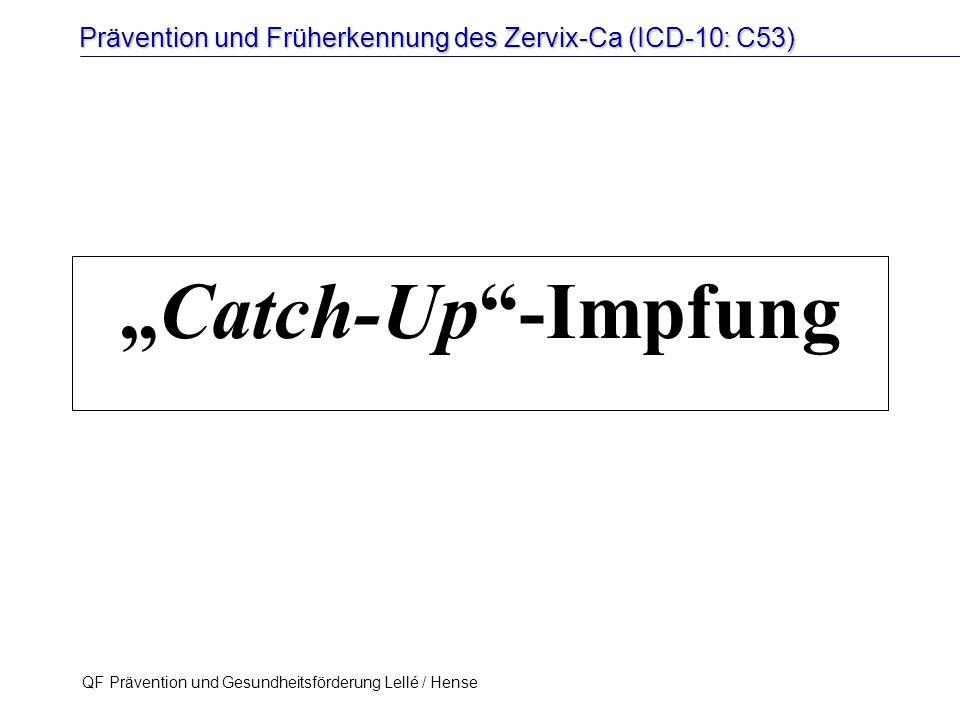 """Prävention und Früherkennung des Zervix-Ca (ICD-10: C53) QF Prävention und Gesundheitsförderung Lellé / Hense 36 """"Catch-Up""""-Impfung"""