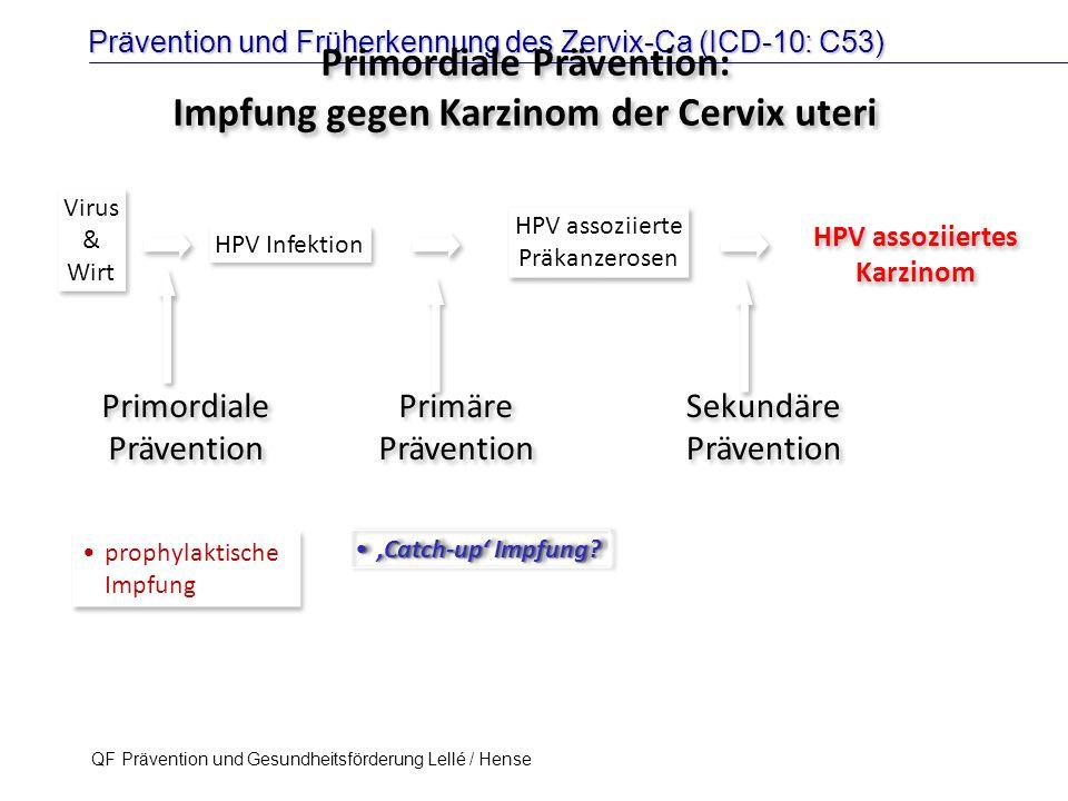 Prävention und Früherkennung des Zervix-Ca (ICD-10: C53) QF Prävention und Gesundheitsförderung Lellé / Hense 37 HPV Infektion HPV assoziierte Präkanz