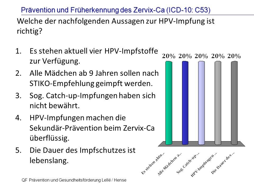 Prävention und Früherkennung des Zervix-Ca (ICD-10: C53) QF Prävention und Gesundheitsförderung Lellé / Hense 43 Welche der nachfolgenden Aussagen zur