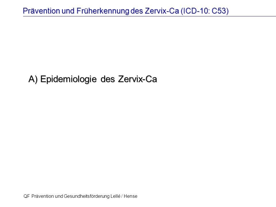 Prävention und Früherkennung des Zervix-Ca (ICD-10: C53) QF Prävention und Gesundheitsförderung Lellé / Hense 8 Wie groß ist das Risiko für eine Frau in Deutschland, im Verlauf ihres Lebens je an einem Zervixkarzinom zu erkranken.
