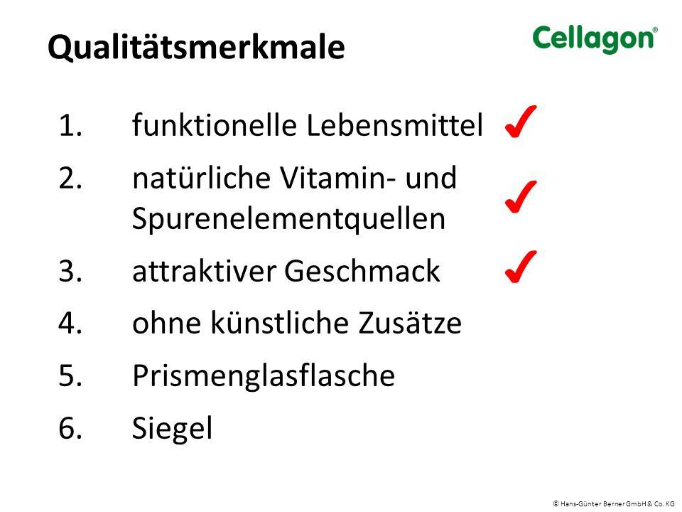 1.funktionelle Lebensmittel 2.natürliche Vitamin- und Spurenelementquellen 3.attraktiver Geschmack 4.ohne künstliche Zusätze 5.Prismenglasflasche 6.Siegel Qualitätsmerkmale ✔ ✔ ✔