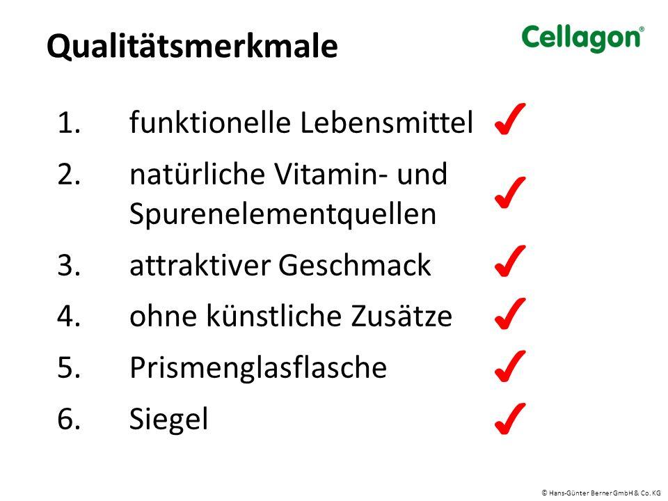 Qualitätsmerkmale ✔ ✔ ✔ ✔ ✔ ✔ 1.funktionelle Lebensmittel 2.natürliche Vitamin- und Spurenelementquellen 3.attraktiver Geschmack 4.ohne künstliche Zusätze 5.Prismenglasflasche 6.Siegel