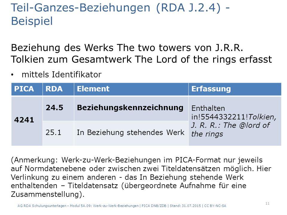 Beziehung des Werks The two towers von J.R.R.
