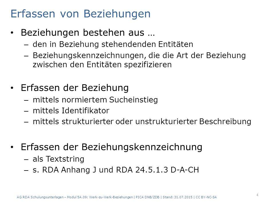 Standardelemente RDA 24.3 Das Erfassen von Beziehungen zwischen miteinander in Beziehung stehenden Werken (…) ist nicht erforderlich.