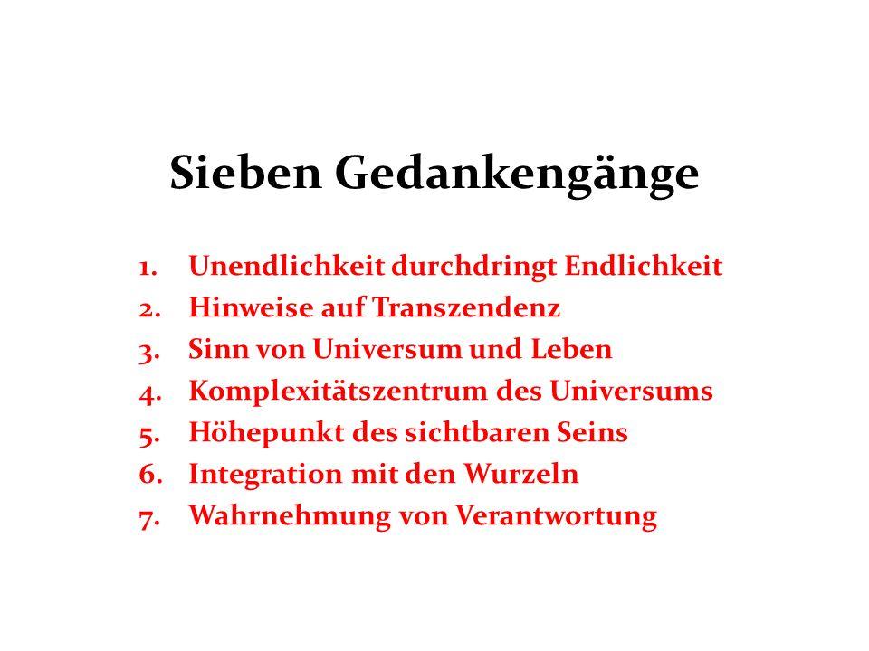 Sieben Gedankengänge 1.Unendlichkeit durchdringt Endlichkeit 2.Hinweise auf Transzendenz 3.Sinn von Universum und Leben 4.Komplexitätszentrum des Univ