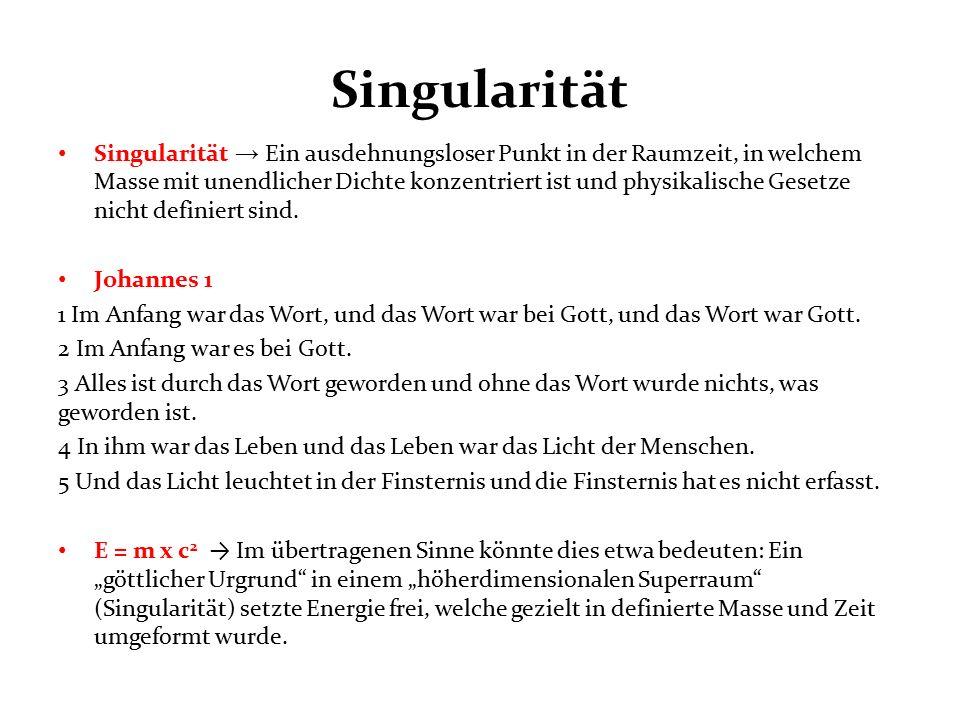 Singularität Singularität → Ein ausdehnungsloser Punkt in der Raumzeit, in welchem Masse mit unendlicher Dichte konzentriert ist und physikalische Gesetze nicht definiert sind.
