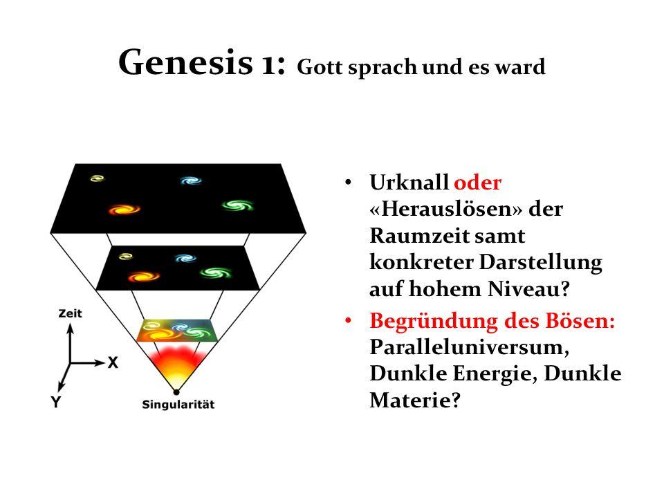 Genesis 1: Gott sprach und es ward Urknall oder «Herauslösen» der Raumzeit samt konkreter Darstellung auf hohem Niveau? Begründung des Bösen: Parallel