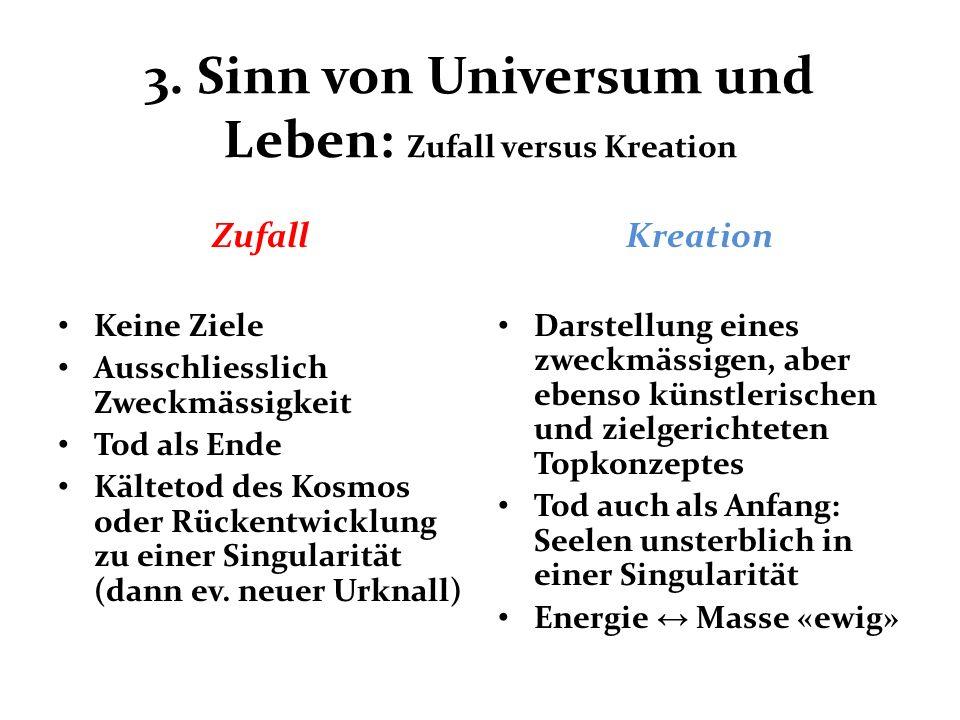 3. Sinn von Universum und Leben: Zufall versus Kreation Zufall Keine Ziele Ausschliesslich Zweckmässigkeit Tod als Ende Kältetod des Kosmos oder Rücke