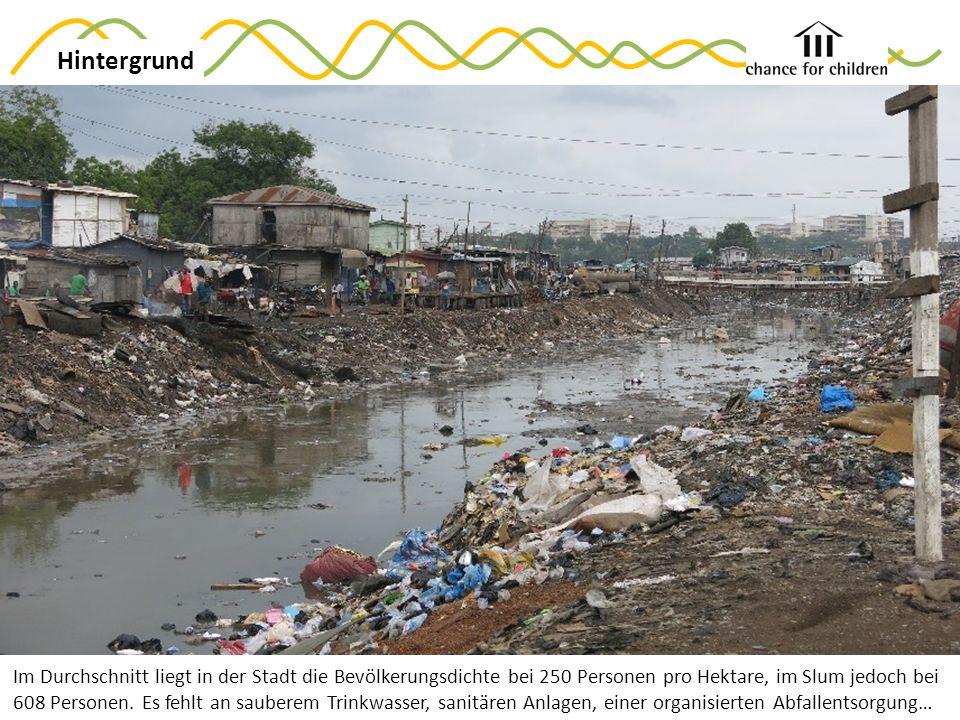 Im Durchschnitt liegt in der Stadt die Bevölkerungsdichte bei 250 Personen pro Hektare, im Slum jedoch bei 608 Personen.