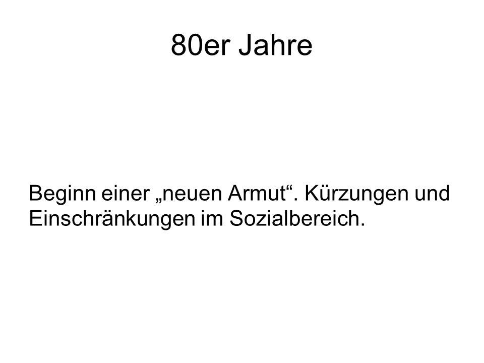 """80er Jahre Beginn einer """"neuen Armut"""". Kürzungen und Einschränkungen im Sozialbereich."""