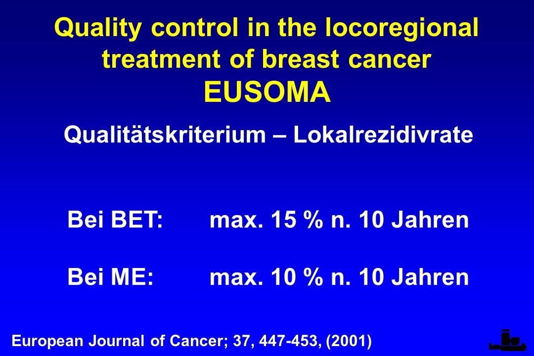 Quality control in the locoregional treatment of breast cancer EUSOMA Qualitätskriterium – Lokalrezidivrate Bei BET:max.