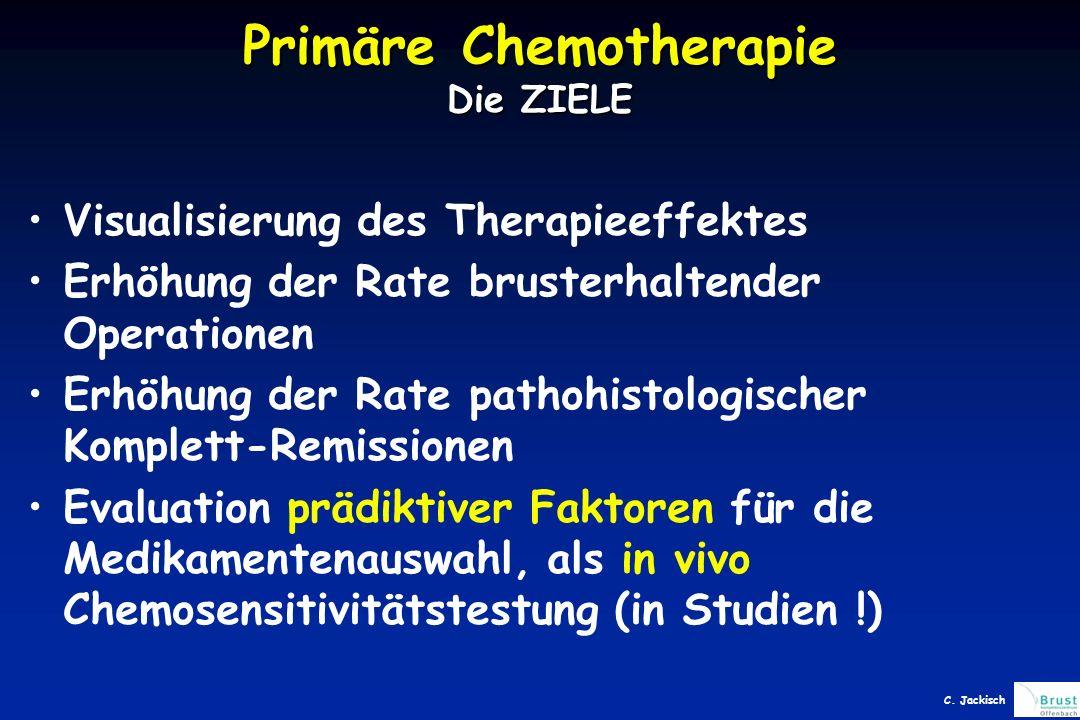 Visualisierung des Therapieeffektes Erhöhung der Rate brusterhaltender Operationen Erhöhung der Rate pathohistologischer Komplett-Remissionen Evaluation prädiktiver Faktoren für die Medikamentenauswahl, als in vivo Chemosensitivitätstestung (in Studien !) Primäre Chemotherapie Die ZIELE C.