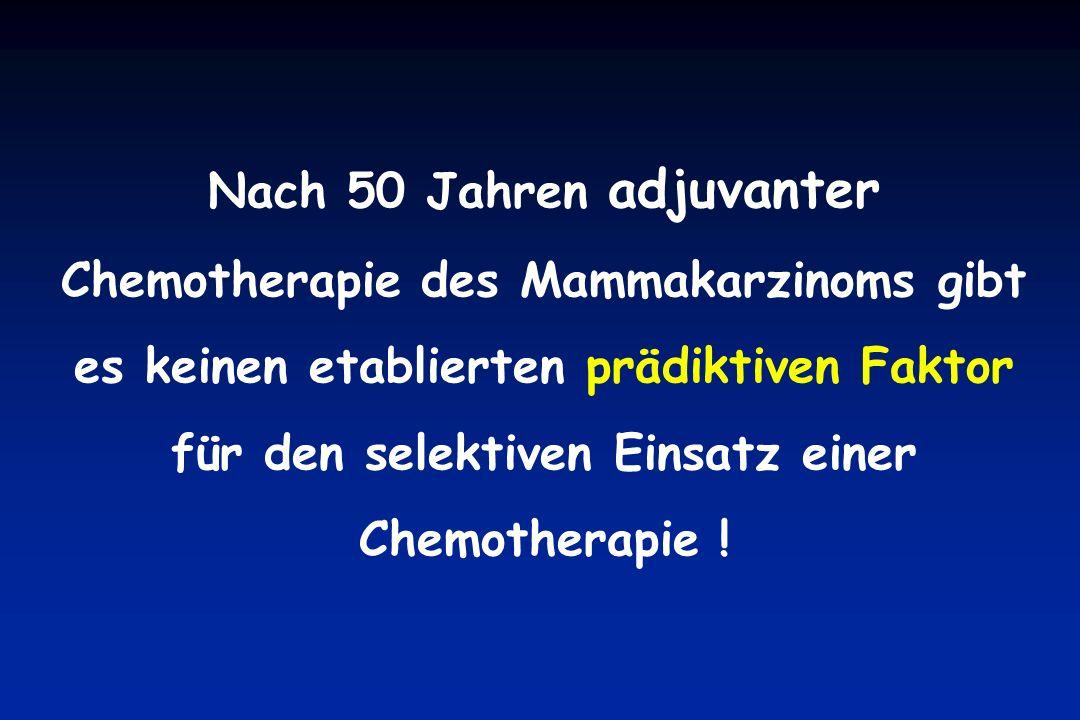 Nach 50 Jahren adjuvanter Chemotherapie des Mammakarzinoms gibt es keinen etablierten prädiktiven Faktor für den selektiven Einsatz einer Chemotherapie !