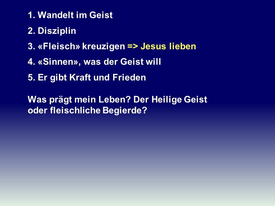 1. Wandelt im Geist 2. Disziplin 3. «Fleisch» kreuzigen => Jesus lieben 4. «Sinnen», was der Geist will 5. Er gibt Kraft und Frieden Was prägt mein Le
