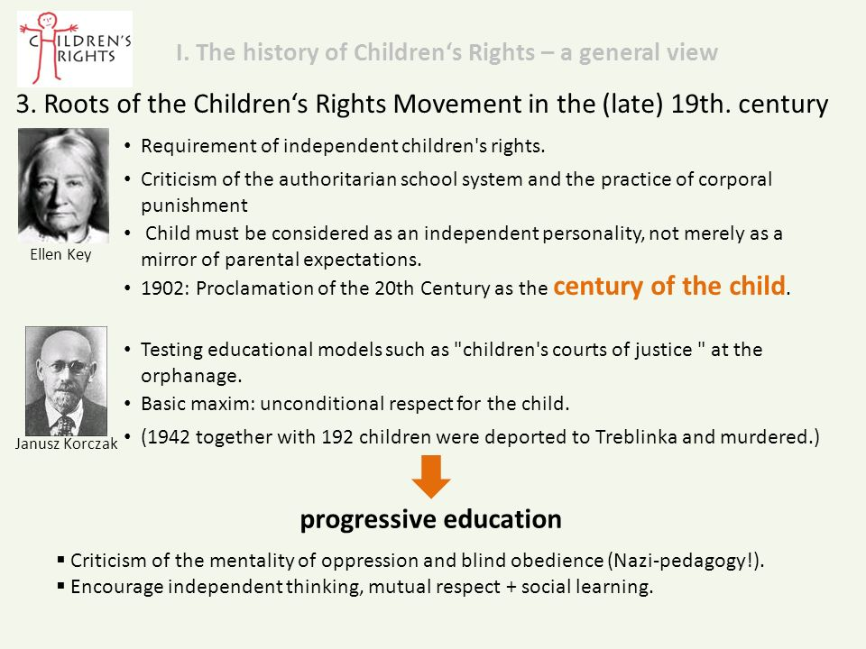 Janusz Korczak 3. Roots of the Children's Rights Movement in the (late) 19th.