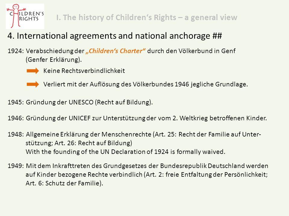 """1924: Verabschiedung der """"Children's Charter durch den Völkerbund in Genf (Genfer Erklärung)."""