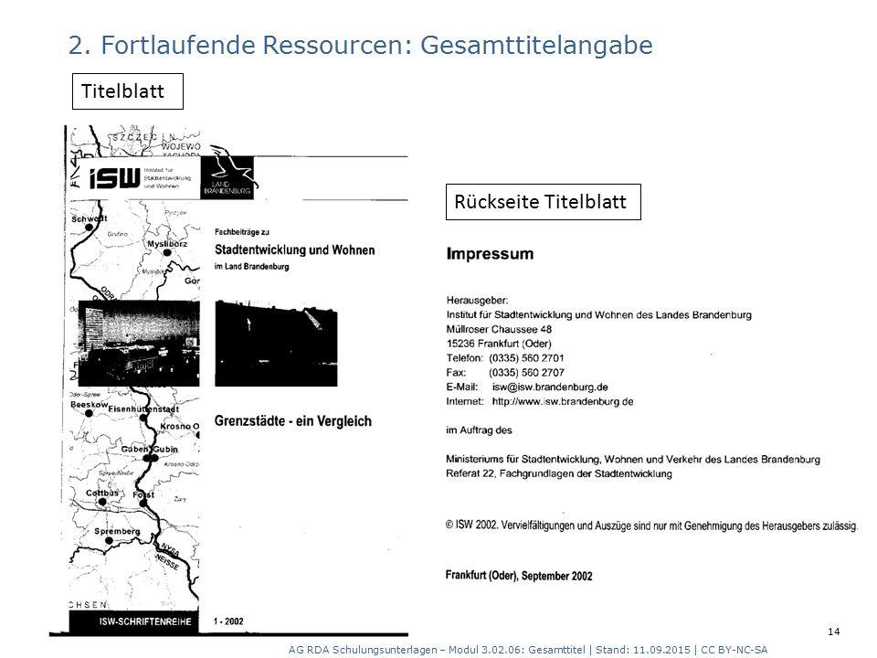 2. Fortlaufende Ressourcen: Gesamttitelangabe Rückseite Titelblatt Titelblatt AG RDA Schulungsunterlagen – Modul 3.02.06: Gesamttitel | Stand: 11.09.2