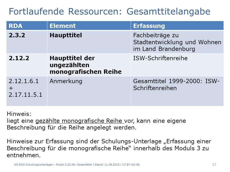 Fortlaufende Ressourcen: Gesamttitelangabe RDAElementErfassung 2.3.2HaupttitelFachbeiträge zu Stadtentwicklung und Wohnen im Land Brandenburg 2.12.2Haupttitel der ungezählten monografischen Reihe ISW-Schriftenreihe 2.12.1.6.1 + 2.17.11.5.1 AnmerkungGesamttitel 1999-2000: ISW- Schriftenreihen Hinweis: liegt eine gezählte monografische Reihe vor, kann eine eigene Beschreibung für die Reihe angelegt werden.