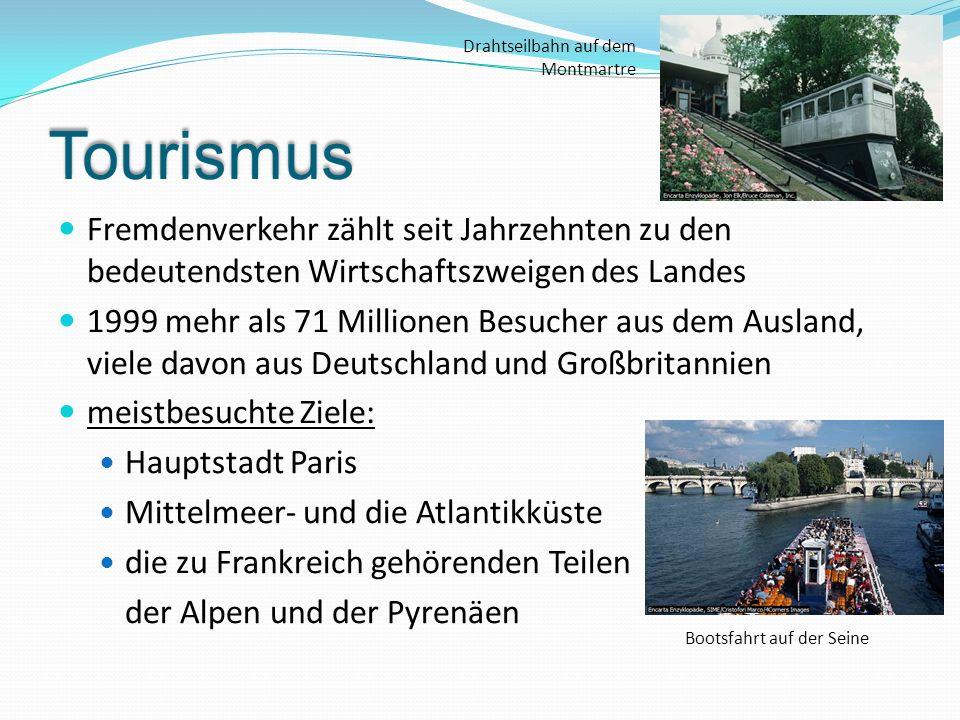 Tourismus Fremdenverkehr zählt seit Jahrzehnten zu den bedeutendsten Wirtschaftszweigen des Landes 1999 mehr als 71 Millionen Besucher aus dem Ausland