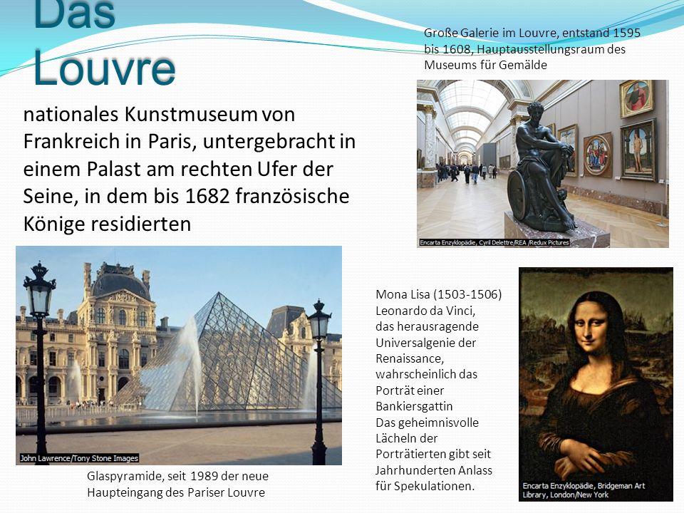 Das Louvre Glaspyramide, seit 1989 der neue Haupteingang des Pariser Louvre Große Galerie im Louvre, entstand 1595 bis 1608, Hauptausstellungsraum des