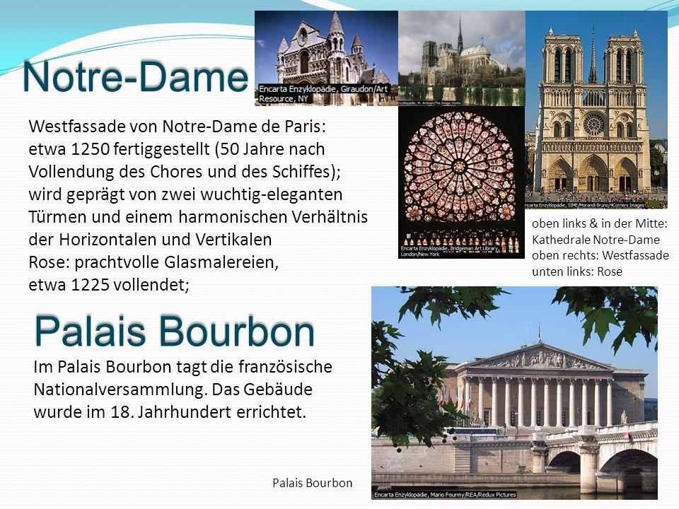 Notre-Dame Westfassade von Notre-Dame de Paris: etwa 1250 fertiggestellt (50 Jahre nach Vollendung des Chores und des Schiffes); wird geprägt von zwei