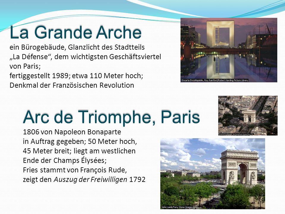 Arc de Triomphe, Paris 1806 von Napoleon Bonaparte in Auftrag gegeben; 50 Meter hoch, 45 Meter breit; liegt am westlichen Ende der Champs Élysées; Fri