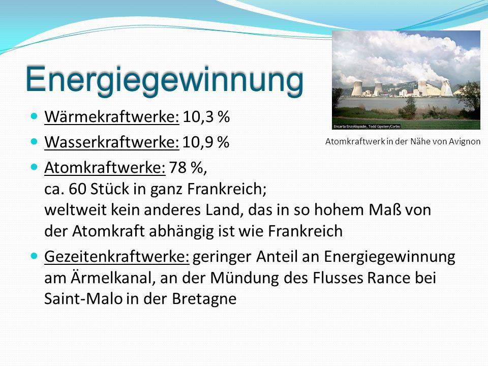 Energiegewinnung Wärmekraftwerke: 10,3 % Wasserkraftwerke: 10,9 % Atomkraftwerke: 78 %, ca. 60 Stück in ganz Frankreich; weltweit kein anderes Land, d