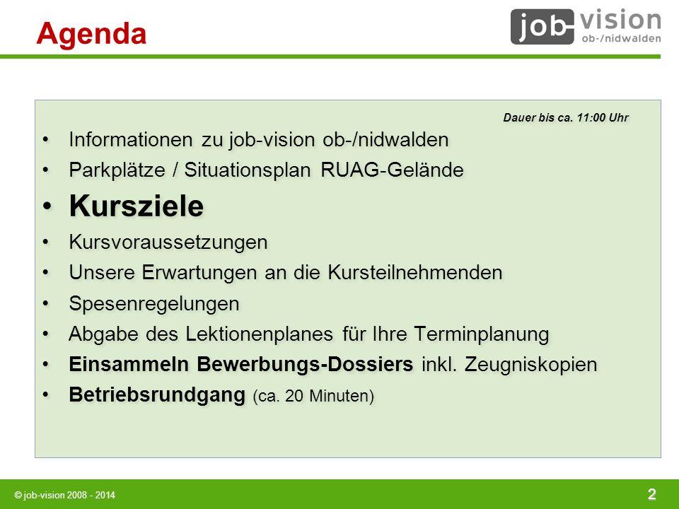 © job-vision 2008 - 2014 Agenda Dauer bis ca. 11:00 Uhr Informationen zu job-vision ob-/nidwalden Parkplätze / Situationsplan RUAG-Gelände Kursziele K