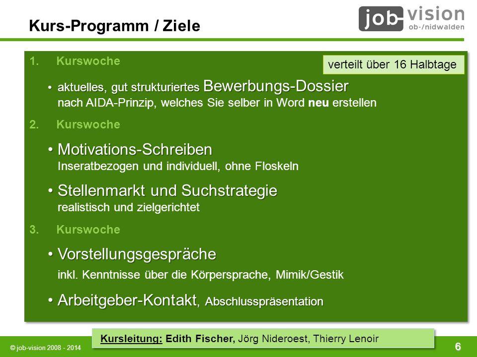 © job-vision 2008 - 2014 6 Kurs-Programm / Ziele AIDAAIDA 1.Kurswoche aktuelles, gut strukturiertes Bewerbungs-Dossieraktuelles, gut strukturiertes Be