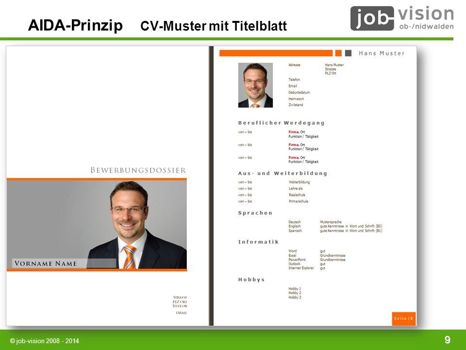 © job-vision 2008 - 2014 9 AIDA-Prinzip CV-Muster mit Titelblatt