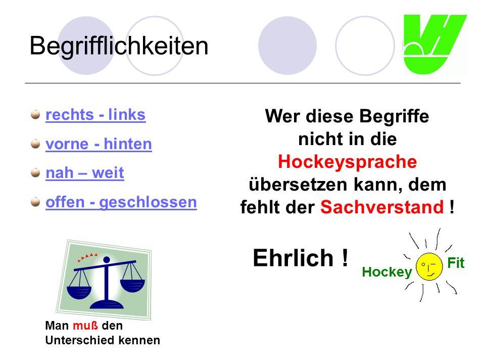 Begrifflichkeiten rechts - links vorne - hinten nah – weit offen - geschlossen Wer diese Begriffe nicht in die Hockeysprache übersetzen kann, dem fehlt der Sachverstand .