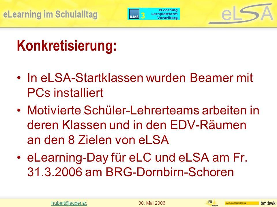 hubert@egger.achubert@egger.ac 30. Mai 2006 Konkretisierung: In eLSA-Startklassen wurden Beamer mit PCs installiert Motivierte Schüler-Lehrerteams arb