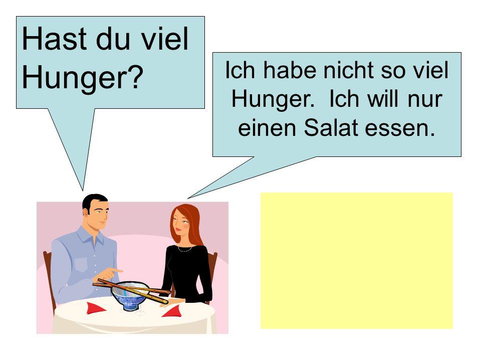 Hast du viel Hunger? Ich habe nicht so viel Hunger. Ich will nur einen Salat essen.