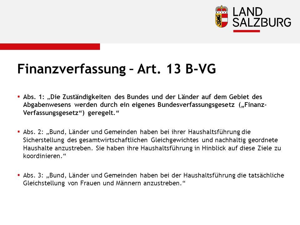 Finanzverfassung – Art. 13 B-VG  Abs.