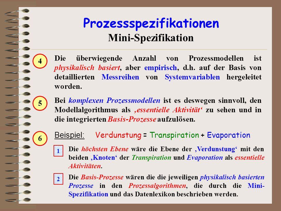 Die Basis-Prozesse wären die die jeweiligen physikalisch basierten Prozesse in den Prozessalgorithmen, die durch die Mini- Spezifikation und das Daten