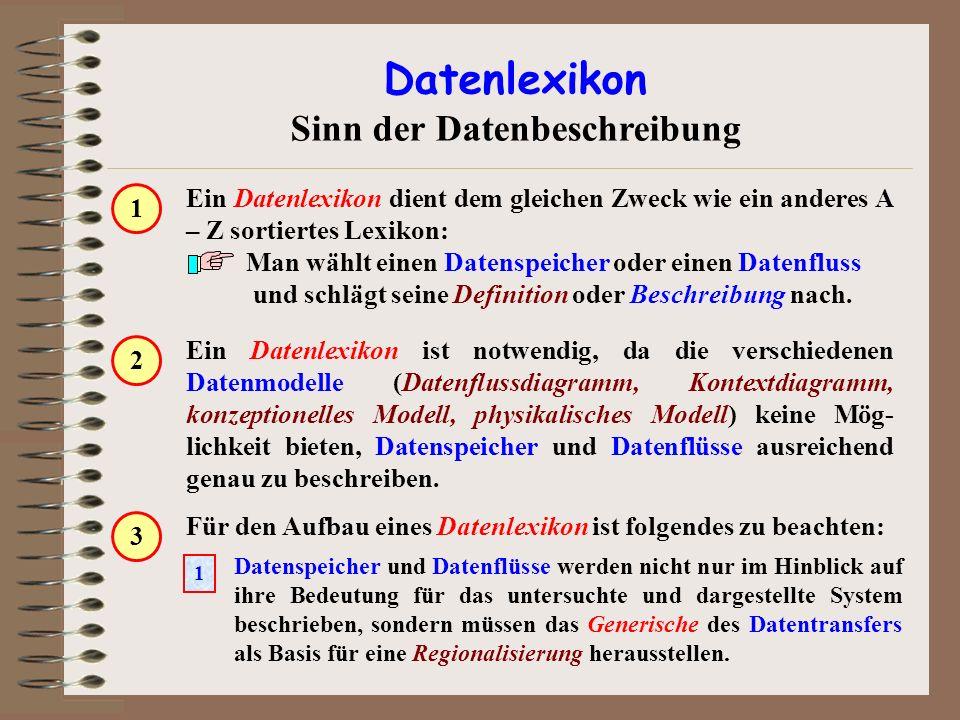 Ein Datenlexikon ist notwendig, da die verschiedenen Datenmodelle (Datenflussdiagramm, Kontextdiagramm, konzeptionelles Modell, physikalisches Modell)