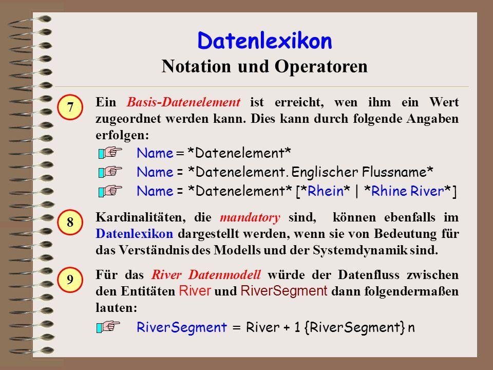 Kardinalitäten, die mandatory sind, können ebenfalls im Datenlexikon dargestellt werden, wenn sie von Bedeutung für das Verständnis des Modells und de