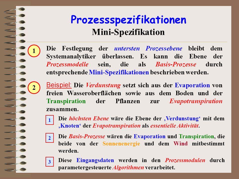 Prozessspezifikationen Mini-Spezifikation Die Festlegung der untersten Prozessebene bleibt dem Systemanalytiker überlassen. Es kann die Ebene der Proz